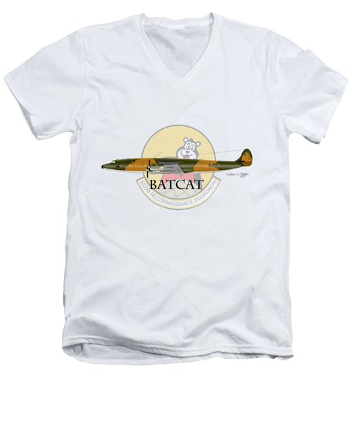 Ec-121r Batcat 553 Men's V-Neck T-Shirt by Arthur Eggers