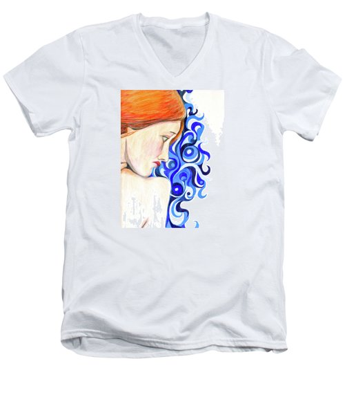 Men's V-Neck T-Shirt featuring the photograph Echo Looking Upon Narcissus by Jean Haynes
