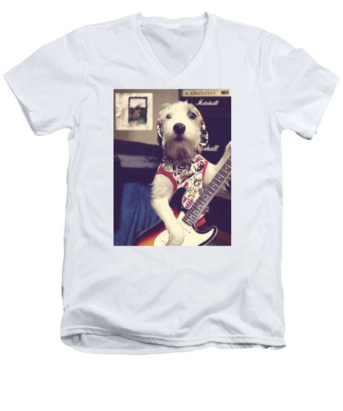 Eddie Plays Guitar Men's V-Neck T-Shirt by Richard Reeve