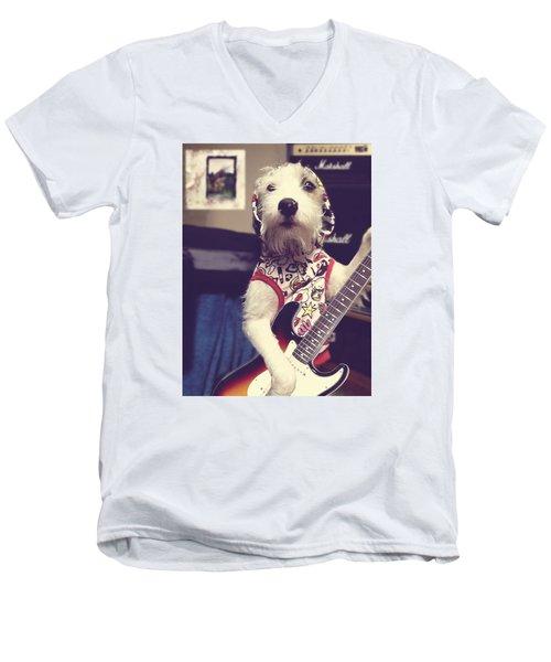 Eddie Plays Guitar Men's V-Neck T-Shirt