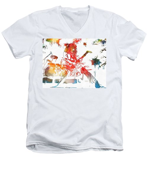 Eddie Van Halen Paint Splatter Men's V-Neck T-Shirt by Dan Sproul