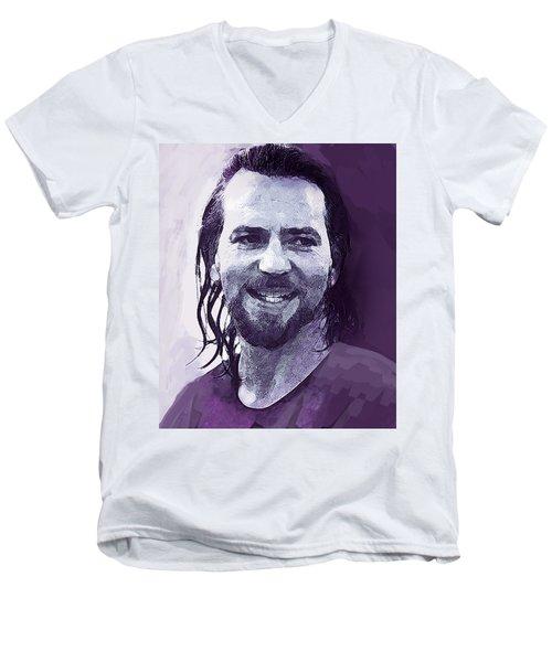 Eddie Vedder Pearl Jam  Men's V-Neck T-Shirt by Enki Art