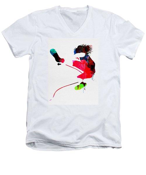 Eddie Watercolor Men's V-Neck T-Shirt by Naxart Studio