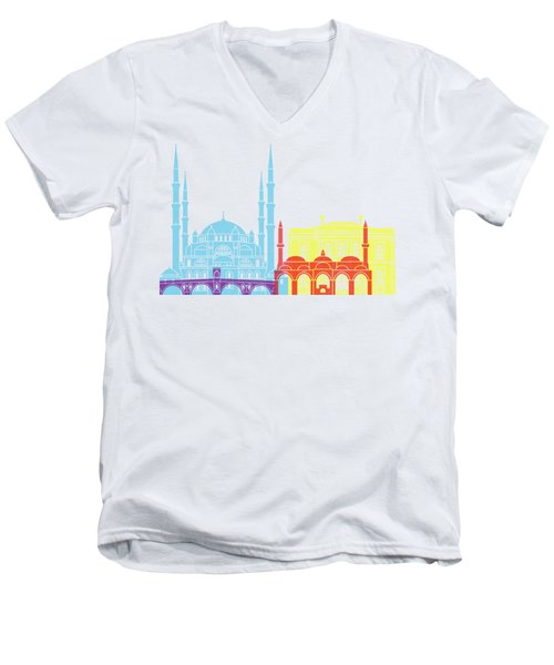 Edirne Skyline Pop Men's V-Neck T-Shirt