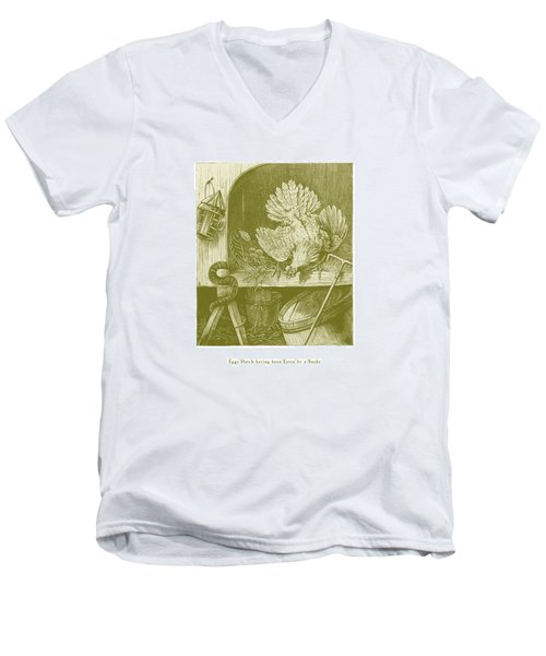 Men's V-Neck T-Shirt featuring the drawing Eggs Hatch Having Been Eaten By A Snake by David Davies