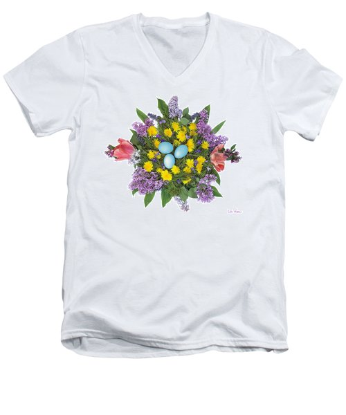 Eggs In Dandelions, Lilacs, Violets And Tulips Men's V-Neck T-Shirt by Lise Winne