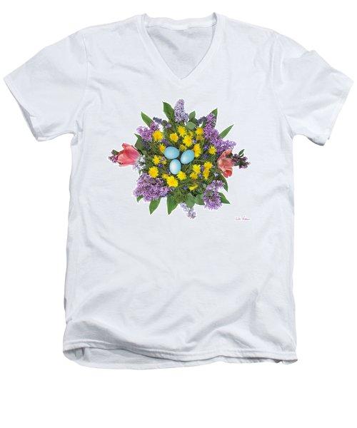 Eggs In Dandelions, Lilacs, Violets And Tulips Men's V-Neck T-Shirt