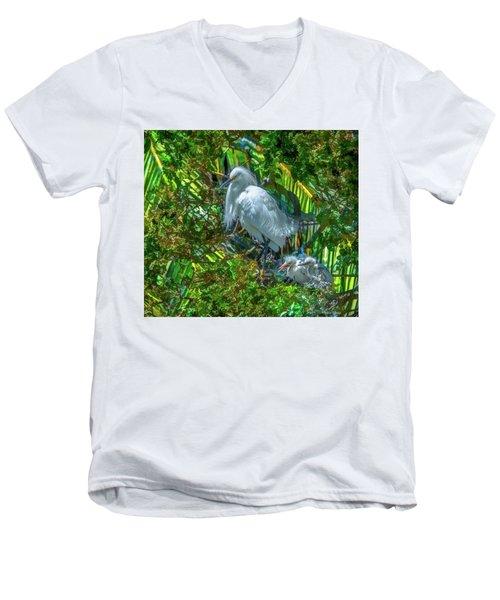 Egret And Chicks Men's V-Neck T-Shirt