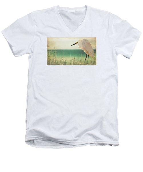 Egret In Morning Light Men's V-Neck T-Shirt by Christina Lihani