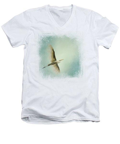 Egret Overhead Men's V-Neck T-Shirt by Jai Johnson