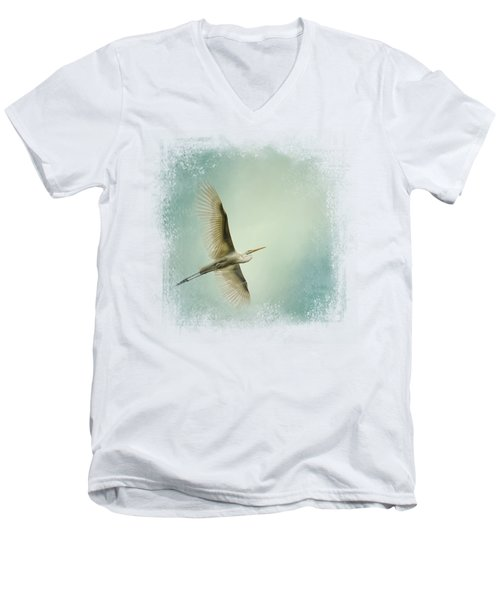 Egret Overhead Men's V-Neck T-Shirt