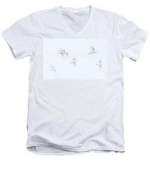 Egrets White On White Color Men's V-Neck T-Shirt