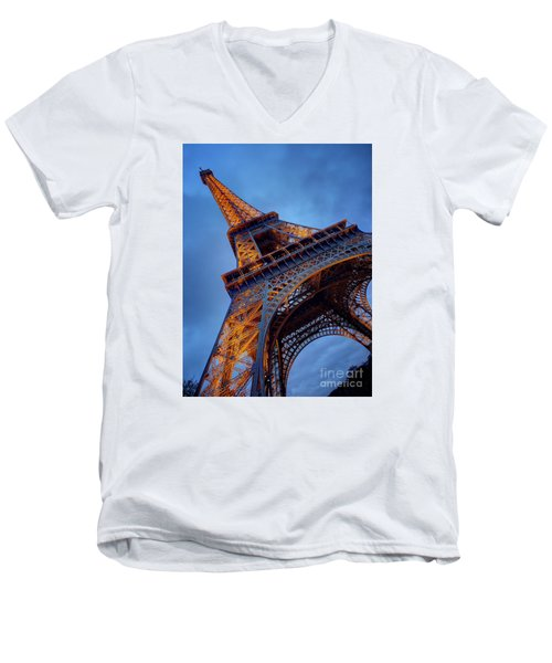 Eiffel Dressed In Gold Men's V-Neck T-Shirt by Kim Andelkovic