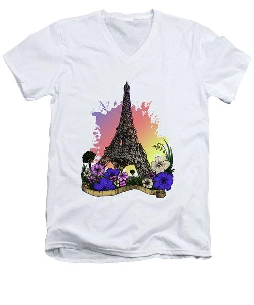 Eiffel Tower Men's V-Neck T-Shirt by Adam Santana