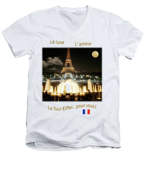 Eiffel Tower At Night Men's V-Neck T-Shirt