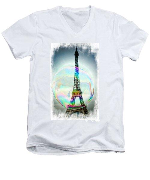 Eiffel Tower Bubble Men's V-Neck T-Shirt by Lilliana Mendez