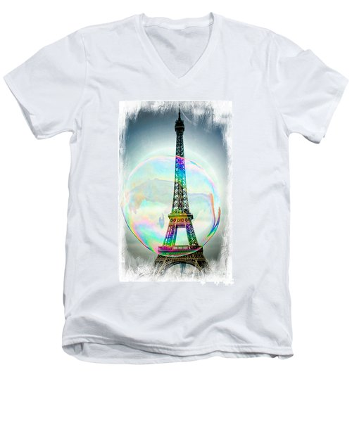 Eiffel Tower Bubble Men's V-Neck T-Shirt