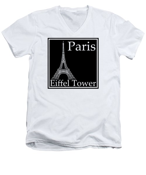 Eiffel Tower In Black Men's V-Neck T-Shirt by Custom Home Fashions