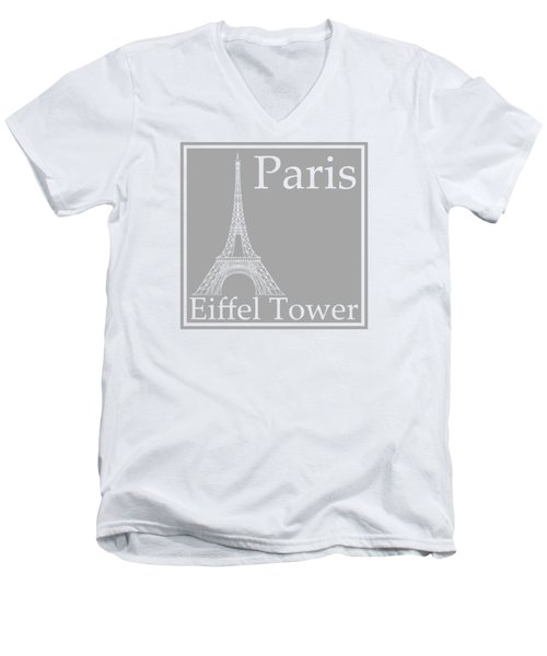 Eiffel Tower In Gray Men's V-Neck T-Shirt by Custom Home Fashions