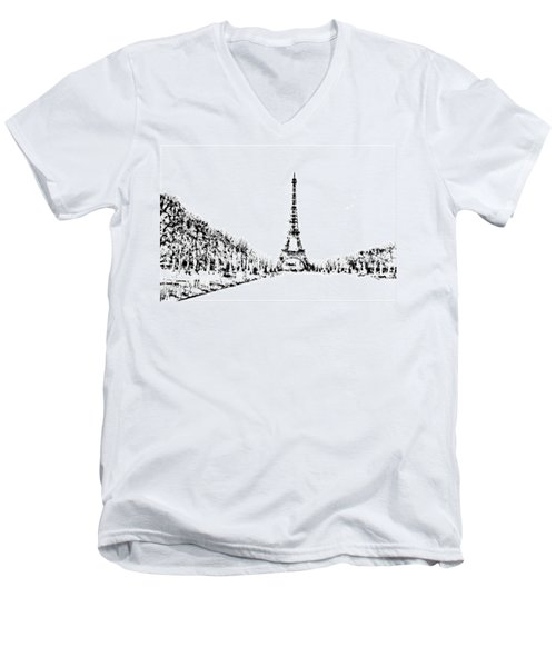 Eiffel Tower Men's V-Neck T-Shirt by ISAW Gallery