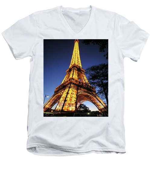Men's V-Neck T-Shirt featuring the photograph Eiffel Tower by Jim Mathis