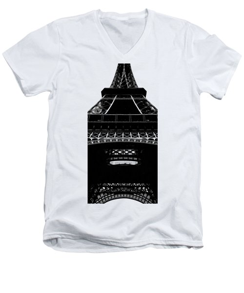 Eiffel Tower Paris Graphic Phone Case Men's V-Neck T-Shirt by Edward Fielding