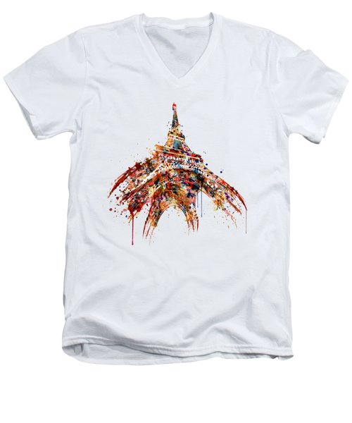 Eiffel Tower Watercolor Men's V-Neck T-Shirt by Marian Voicu