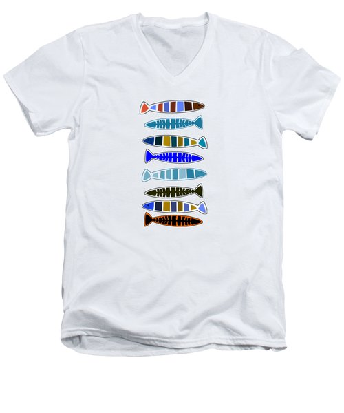 Eight Fish In A Row Men's V-Neck T-Shirt