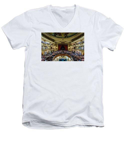 El Ateneo Grand Splendid Men's V-Neck T-Shirt by Randy Scherkenbach