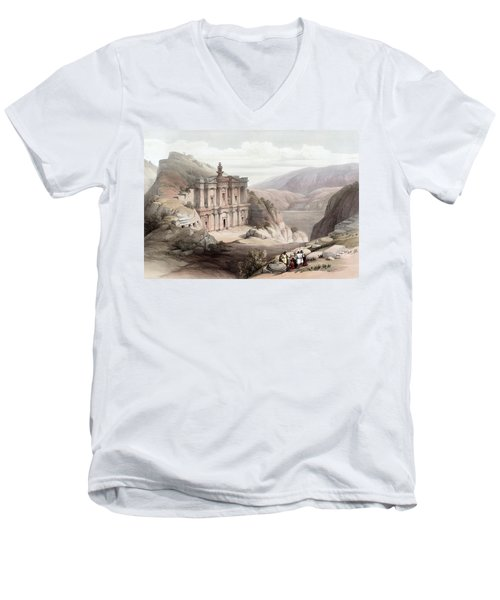El Deir Petra 1839 Men's V-Neck T-Shirt by Munir Alawi