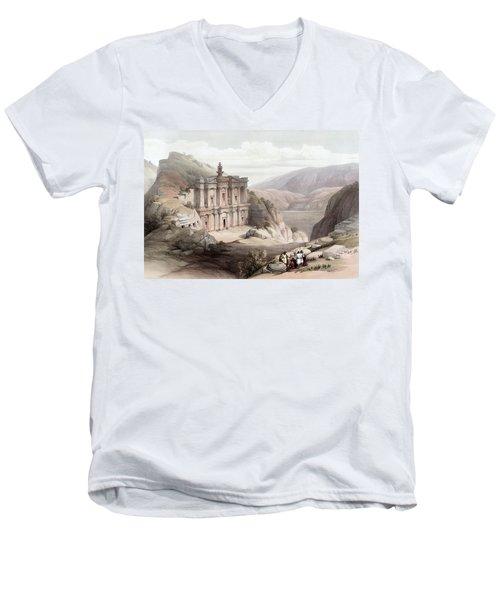 El Deir Petra 1839 Men's V-Neck T-Shirt by Munir Alawi