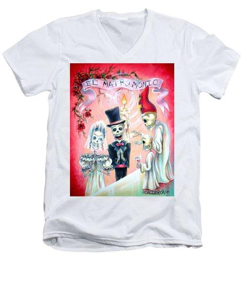 Men's V-Neck T-Shirt featuring the painting El Matrimonio by Heather Calderon