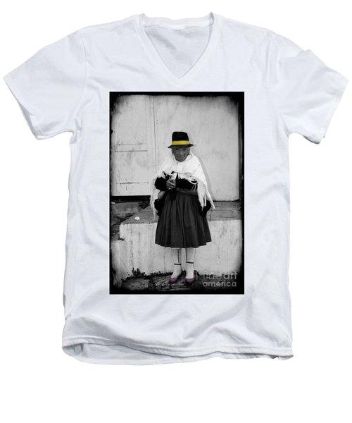 Elderly Beggar In Biblian Men's V-Neck T-Shirt by Al Bourassa