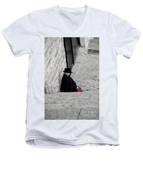 Men's V-Neck T-Shirt featuring the photograph Elderly Beggar In Chordeleg by Al Bourassa