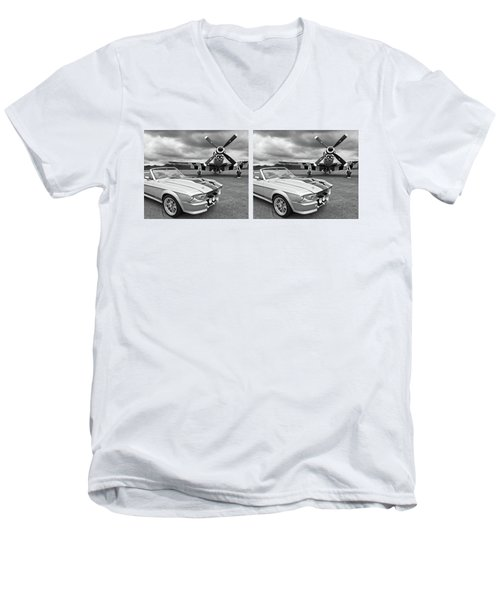 Eleanor Mustang With P51 Black And White Men's V-Neck T-Shirt by Gill Billington