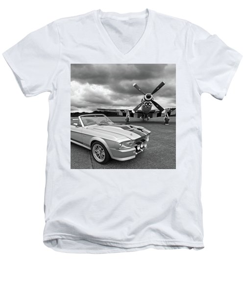 Eleanor Mustang With P51 Black And White Men's V-Neck T-Shirt