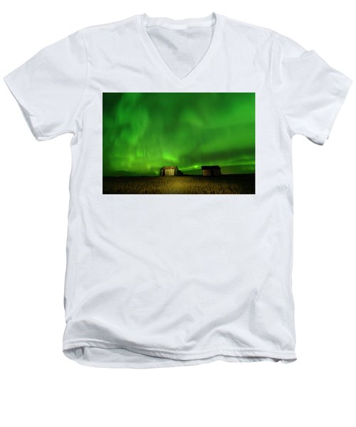 Electric Green Skies Men's V-Neck T-Shirt