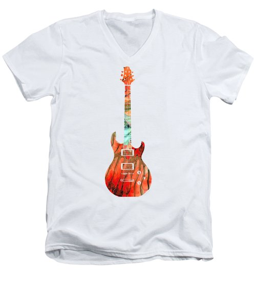 Men's V-Neck T-Shirt featuring the painting Electric Guitar 2 - Buy Colorful Abstract Musical Instrument by Sharon Cummings