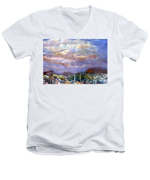 Electric Sunset Men's V-Neck T-Shirt by Donald Maier