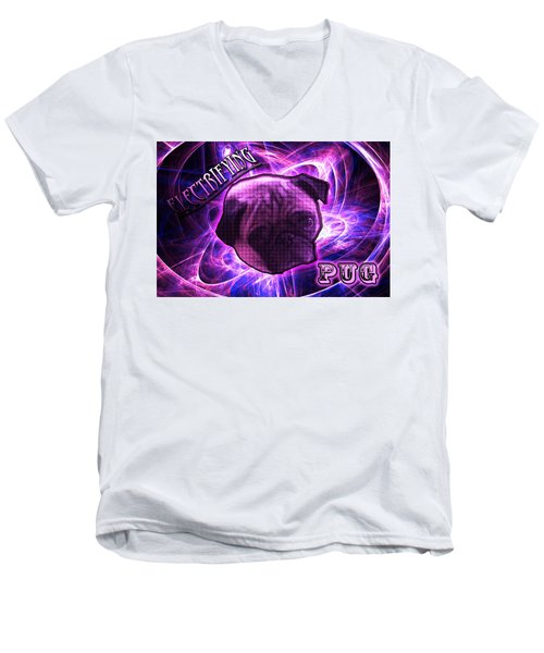 Electrifying Pug Men's V-Neck T-Shirt