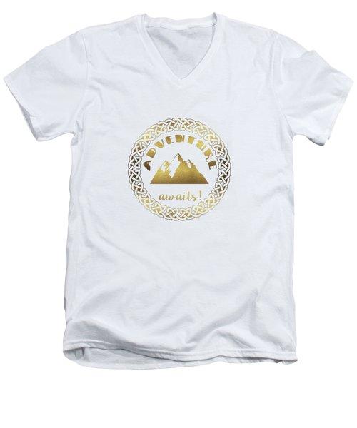 Elegant Gold Foil Adventure Awaits Typography Celtic Knot Men's V-Neck T-Shirt