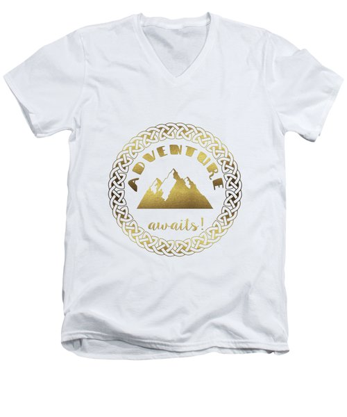 Men's V-Neck T-Shirt featuring the digital art Elegant Gold Foil Adventure Awaits Typography Celtic Knot by Georgeta Blanaru