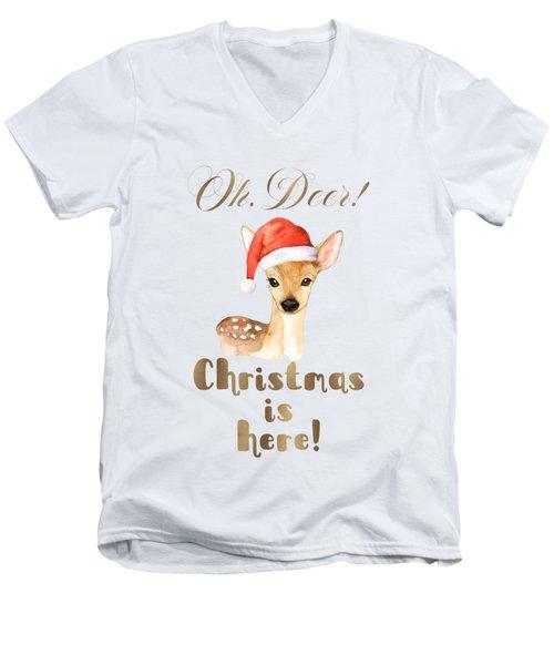 Elegant Gold Oh Deer Christmas Is Here Deer Santa Men's V-Neck T-Shirt