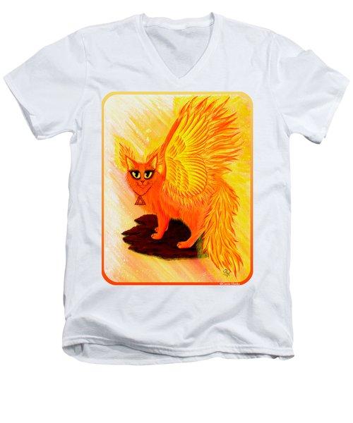 Elemental Fire Fairy Cat Men's V-Neck T-Shirt