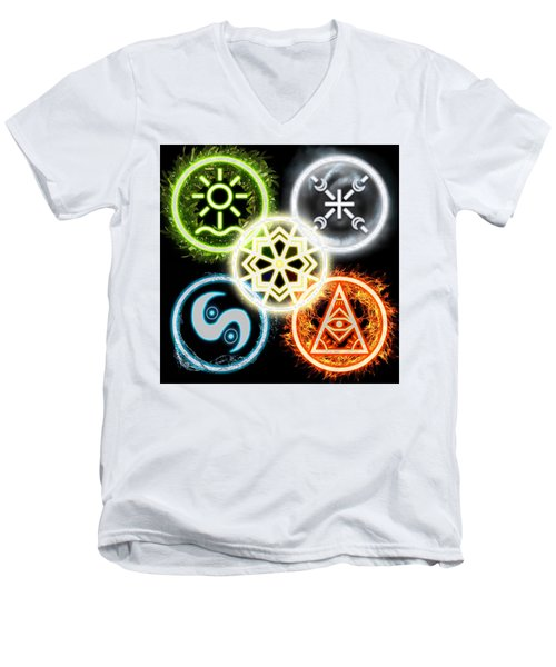 Men's V-Neck T-Shirt featuring the digital art Elements Of Nature by Shawn Dall