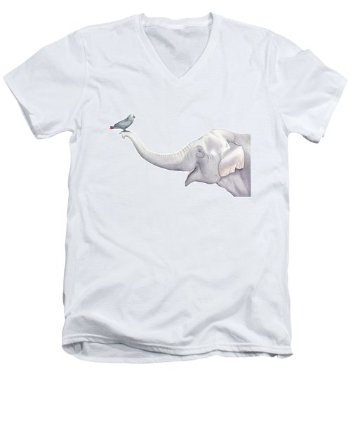 Men's V-Neck T-Shirt featuring the painting Elephant And Bird Watercolor by Taylan Apukovska