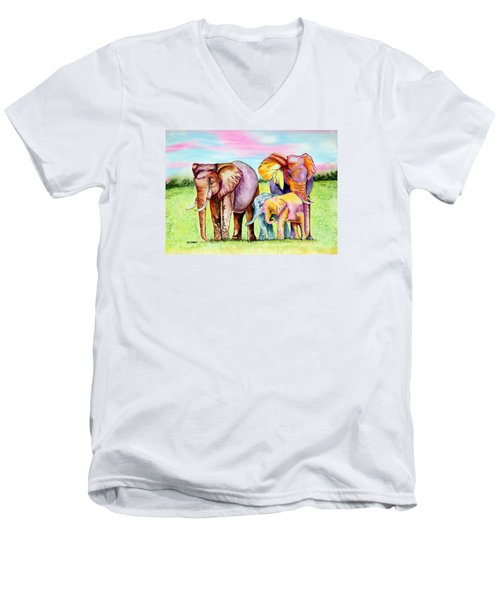 Men's V-Neck T-Shirt featuring the painting Elephant Aura by Maria Barry