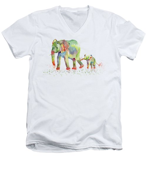 Elephant Family Watercolor  Men's V-Neck T-Shirt by Melly Terpening