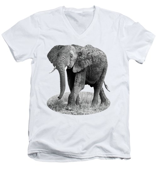 Men's V-Neck T-Shirt featuring the photograph Elephant Happy And Free In Black And White by Gill Billington