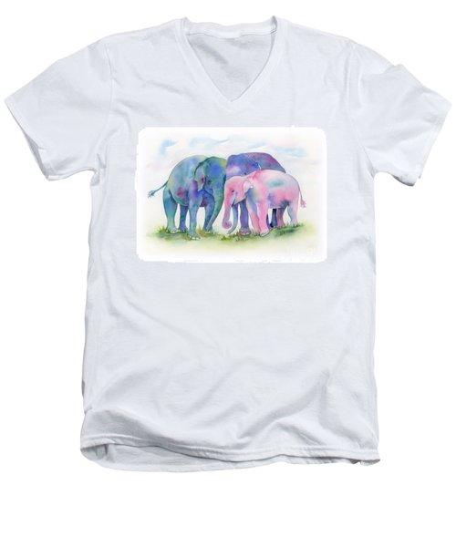 Elephant Hug Men's V-Neck T-Shirt